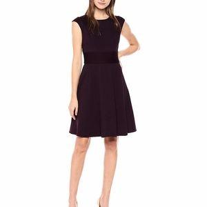 Eliza J. Purple Pintuck Waist Ponte Knit Dress